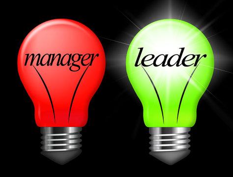 Leader Vs Manager Lights Demonstrates Managing Versus Leading - 3d Illustration