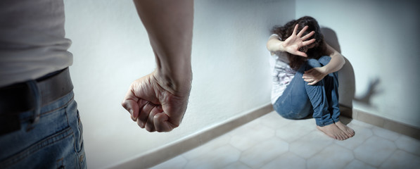 Fototapeta Domestic Violence Concept - Husband Beating His Wife obraz