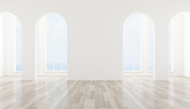 View of interior space with arch window design on sea view background,blank space of architecture with wood laminate floor. 3d rendering.