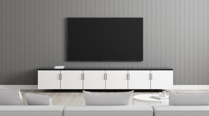 View of living room in minimal style with television on grey laminate wall. Mock-up idea of sitting and watching TV on white sofa, 3D rendering.