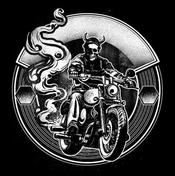 Skull Riding Motorbike Pencil Sketch