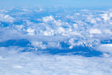 View on Dolomites mountian range from airplane