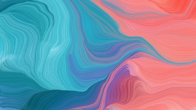 curved lines artwork with steel blue, light coral and dark slate blue colors. abstract dynamic wallpaper background and creative drawing design. illustration art