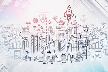 Business start up sketch in city sky