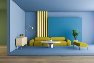 Bright blue and yellow living room interior