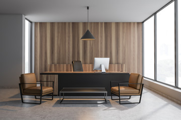 Wooden CEO office interior with armchairs