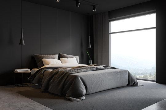 Gray loft master bedroom corner