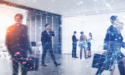 Business people in office, digital network Wall mural