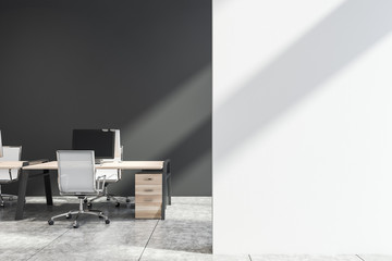 Grey office workplace with mock up wall