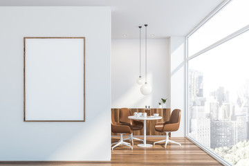 Poster in white Scandinavian dining room