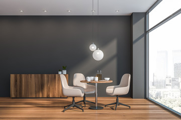 Gray Scandinavian dining room interior