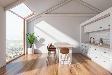 Scandinavian kitchen interior with bar