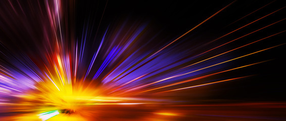 Panoramic high speed technology concept, light abstract background Fototapete