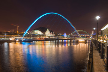 Wall Murals Bridge Newcastle and Gateshead quayside at night scene of River Tyne bridges and Sage