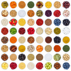 Wall Mural - Fruits and vegetables berries spices herbs grapes square sugar from above isolated on white