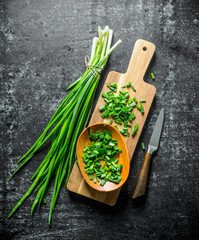 Fototapeta Chopped green onion on a wooden cutting Board. obraz