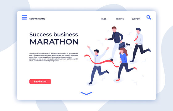 Success business marathon. Successful startup, businessman winner and professional triumph landing page. Sprint running competition, business team career winners isometric vector illustration