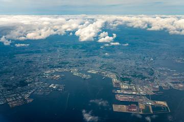東京湾航空写真 横浜付近(東京・神奈川)