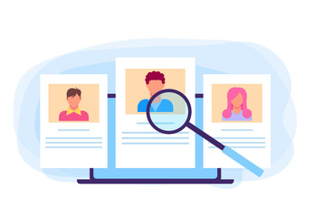 Human resources head hunter hr recruitment candidate personal information concept. Vector flat graphic design cartoon illustration