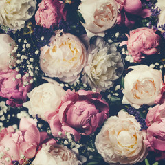 Poster Bloemen Vintage bouquet of pink and white peonies. Floristic decoration. Floral background. Baroque old fashiones style image. Natural flowers pattern wallpaper or greeting card