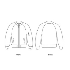 Bomber jacket vector illustration.  Technical sketch jacket.