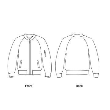 Bomber jacket vector illustration.  Technical sketch jacket.