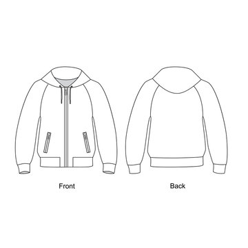 Jacket with zipper and hood vector. Jacket line drawing vector.