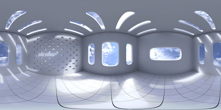 4K HDRI map, spherical environment panorama background, high contrast interior light source rendering with intense sunlight (3d equirectangular illustration)