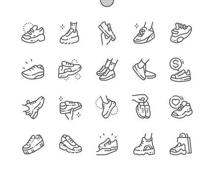 Sneakers Well-crafted Pixel Perfect Vector Thin Line Icons 30 2x Grid for Web Graphics and Apps. Simple Minimal Pictogram