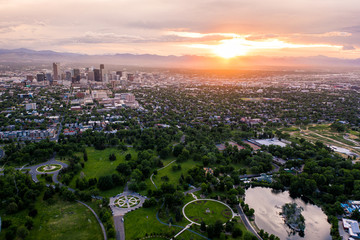Aerial drone photo - Skyline of Denver, Colorado at sunset from City Park Wall mural