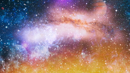 planets, stars and galaxies in outer space showing the beauty of space exploration. Elements furnished by NASA Fototapete