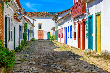 Wall Mural - Street of historical center in Paraty, Rio de Janeiro, Brazil. Paraty is a preserved Portuguese colonial and Brazilian Imperial municipality