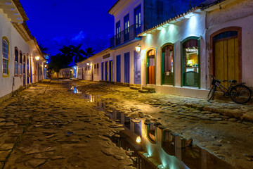 Wall Mural - Night view of street of historical center in Paraty, Rio de Janeiro, Brazil. Paraty is a preserved Portuguese colonial and Brazilian Imperial municipality