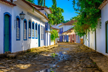 Fotomurales - Street of historical center in Paraty, Rio de Janeiro, Brazil. Paraty is a preserved Portuguese colonial and Brazilian Imperial municipality