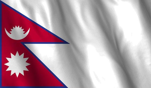 Nepal flag waving illustration. design
