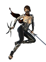 Female warrior with sword and weapons wearing mask. 3d render
