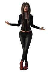 Young attractive woman with long hair in leather pants and red boots. 3d render