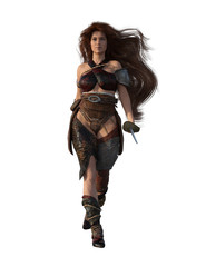 Warrior woman with sword and long hair. 3d render