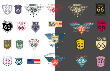 US Historic Route 66 in vector