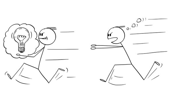 Vector cartoon stick figure drawing conceptual illustration of businessman stealing an idea to another man or competitor and running with, author is chasing him. Concept of plagiarism and intellectual