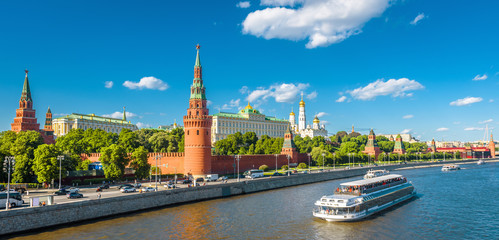 Fototapete - Panoramic view of the beautiful Moscow Kremlin