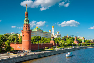 Fototapete - Panorama of the Moscow center with embankment of Moskva River