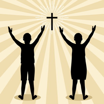 Silhouette of children turned to God with prayer and worship
