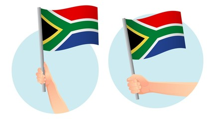 South Africa flag in hand icon