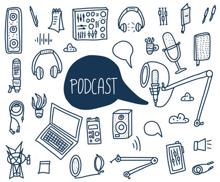 Podcast signs with text. Vector elements design.