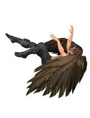 Fallen angel with wings, long hair, leath pants. 3d render