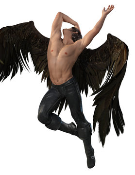 Fallen angel man with large brown wings and leather pants. 3d render