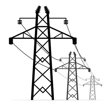 High voltage electric poles. Power line towers.