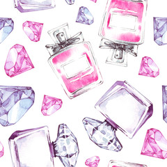 Seamless pattern with watercolor perfumes. Fashion aroma design. Beauty cosmetic texture.