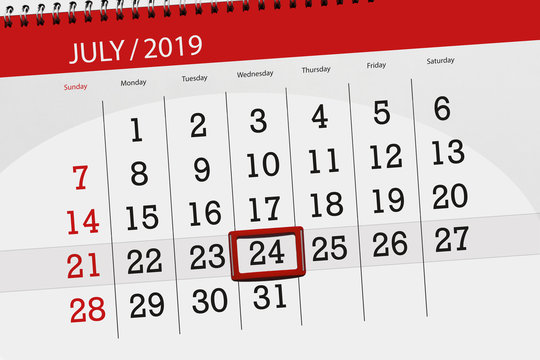 Calendar planner for the month july 2019, deadline day, 24 wednesday